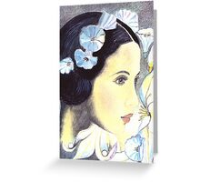 "BEAUTIFUL ""ART NOUVEAU"" WOMAN WITH LILIES  Greeting Card"