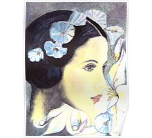 BEAUTIFUL ART NOUVEAU WOMAN WITH LILIES  Poster