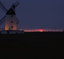 lytham windmill at dusk by kiran mulholland