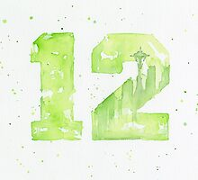 12th Man Seahawks Seattle Art by OlechkaDesign