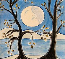 Two Trees Embrace the Moon by Suzi Linden