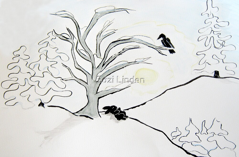 Rabbit and Raven Wintertime by Suzi Linden