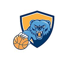 Grizzly Bear Angry Head Basketball Shield Cartoon Photographic Print