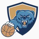 Grizzly Bear Angry Head Basketball Shield Cartoon by patrimonio