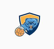 Grizzly Bear Angry Head Basketball Shield Cartoon Unisex T-Shirt