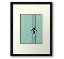 1920s Blue Deco Swing with Monogram letter K Framed Print