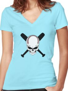 Baseball Jolly Roger Women's Fitted V-Neck T-Shirt