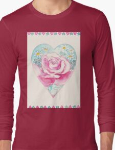 ROMANTIC HEART WITH PINK ROSE AND LITTLE DAISIES  Long Sleeve T-Shirt