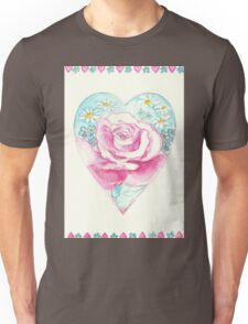ROMANTIC HEART WITH PINK ROSE AND LITTLE DAISIES  Unisex T-Shirt