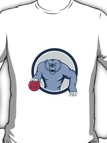 Grizzly Bear Angry Dribbling Basketball Cartoon T-Shirt