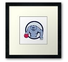 Grizzly Bear Angry Dribbling Basketball Cartoon Framed Print