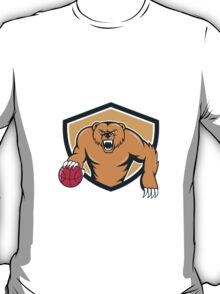 Grizzly Bear Angry Dribbling Basketball Shield Cartoon T-Shirt