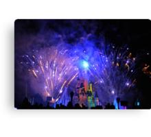 Disneyland Paris Castle Fireworks  Canvas Print