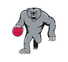 Grizzly Bear Angry Dribbling Basketball Isolated Photographic Print