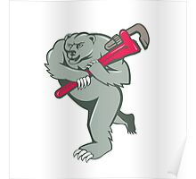 Grizzly Bear Plumber Monkey Wrench Cartoon Poster