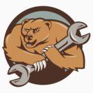 Grizzly Bear Mechanic Spanner Circle Cartoon by patrimonio