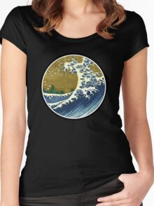Japanese surf wave Women's Fitted Scoop T-Shirt