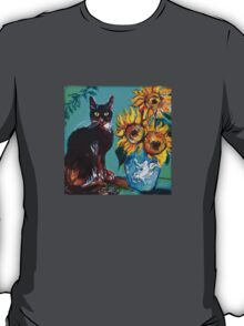 SUNFLOWERS WITH BLACK CAT IN BLUE TURQUOISE  T-Shirt