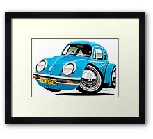 VW Beetle blue Framed Print