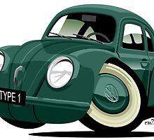 Volkswagen Beetle type 1 green by car2oonz