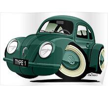 Volkswagen Beetle type 1 green Poster