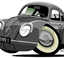 VW Beetle type 1 grey caricature by car2oonz