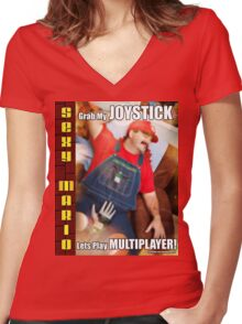 SexyMario MEME - Grab My Joystick, Lets Play Multiplayer! 1 Women's Fitted V-Neck T-Shirt