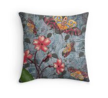 flower and moth Throw Pillow