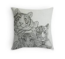 White Tigers-Family Photo Throw Pillow