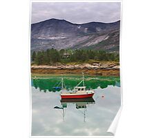 Norway landscape, fjord with fishing boat Poster