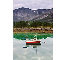 Norway landscape, fjord with fishing boat Photographic Print