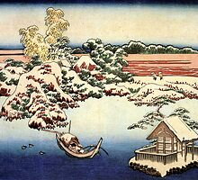 'Winter Landscape of Suda' by Katsushika Hokusai (Reproduction) by Roz Abellera Art Gallery