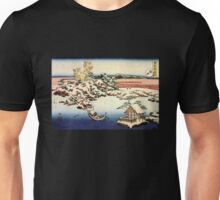 'Winter Landscape of Suda' by Katsushika Hokusai (Reproduction) Unisex T-Shirt