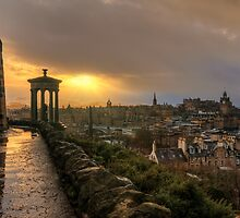 Stormy Sunset from Calton Hill, Edinburgh by Miles Gray