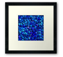 Blue stacked 3D cubes abstract geometric pattern Framed Print