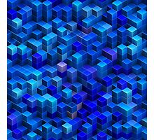 Blue stacked 3D cubes abstract geometric pattern Photographic Print