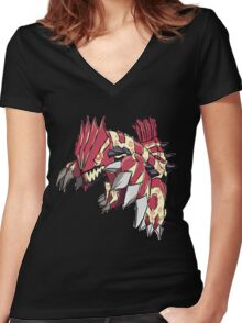 Andy W's Primal Groudon Women's Fitted V-Neck T-Shirt