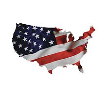 USA United States of America Flag Map Photographic Print