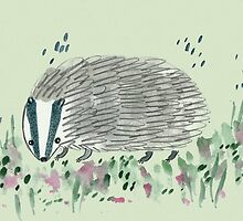 Badger In Grass by Sophie Corrigan
