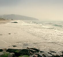 Winter Days at Pentewan Beach,Cornwall by Laura Davey