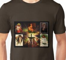 Mary holding baby Jesus in the heavens Unisex T-Shirt