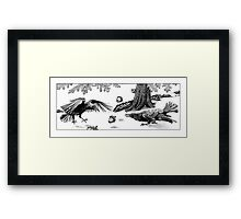 Squirrels Playing Tricks - crows assaulted Framed Print