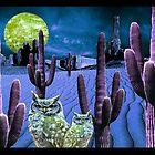 Blue Desert Owls - 3D by belladonnaphoto