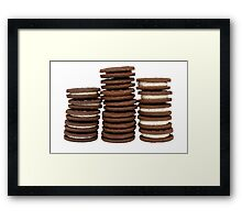 Chocolate Biscuits in Three Piles Framed Print