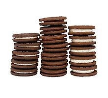 Chocolate Biscuits in Three Piles Photographic Print