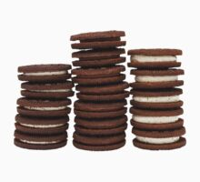 Chocolate Biscuits in Three Piles One Piece - Long Sleeve