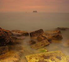On The Rocks (misty day at sea) by jakeof