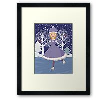 Winter skating girl Framed Print