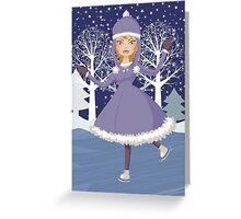 Winter skating girl Greeting Card