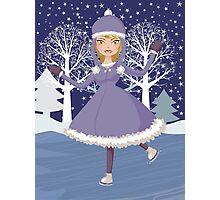Winter skating girl Photographic Print